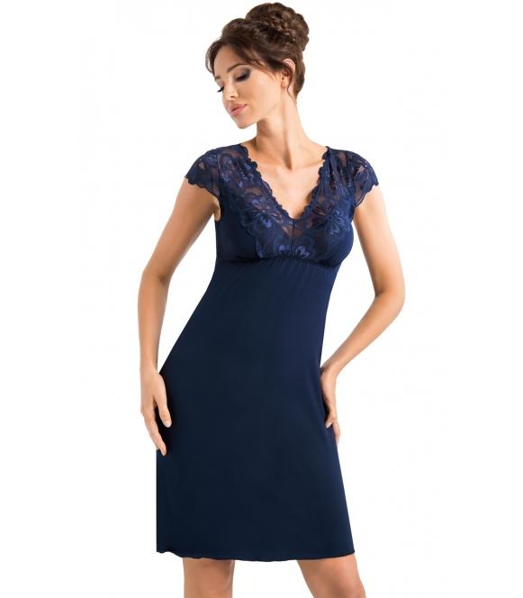 donna granatowa koszula nocna z koronką na biustonoszu krótki rękawek plecy koronkowe długość bielizny przed kolano