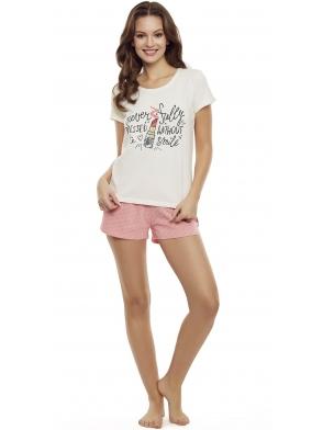 bawełniana piżama damska w pastelowych kolorach krótka henderson ladies devine koszulka ecru krótki rękaw  spodenki krótkie