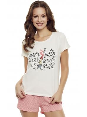 dwuczęściowa pastelowa piżama damska krótki rękaw koszulka eru z kolorowym nadrukiem spodenki krótkie różowe henderson ladies