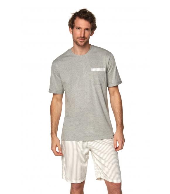 rossli piżama męska brian SAM-PY-188 I szary melange krótki rękaw koszulka z kieszonką spodenki jasne przed kolana