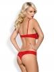 obsessive komplet czerwonej bielizny damskiej z koronki biustonosz i seksowne stringi z ozdobną cyrkonią