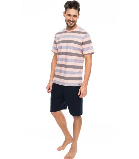 rossli dwuczęściowa krótka piżama męska bawełniana koszulka z krótkim rękawem poziome różnokolorowe paski spodenki krótkie