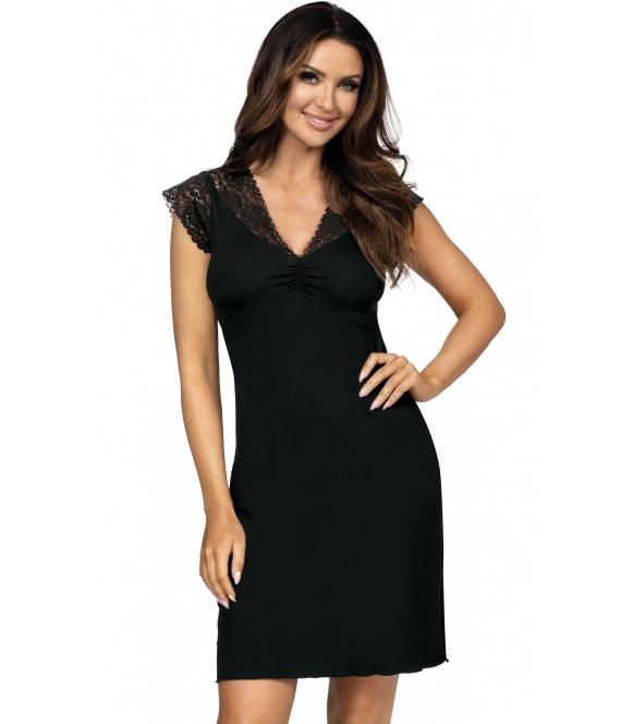 czarna koszulka nocna damska z koronką firmy donna eleni krótki koronkowy rękawek i koronkowe miseczki w biustonoszu