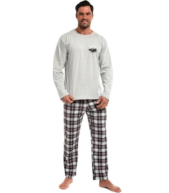 dwuczęściowa bawełniana piżama męska długa bluza szara z nadrukiem na piersi spodnie długie w kratę z gumką w pasie