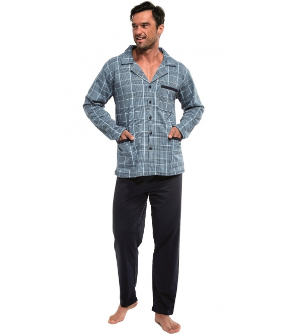 niebiesko granatowa piżama damska zapinana z przodu na guziki długi rękaw modna krata spodnie długie granatowe