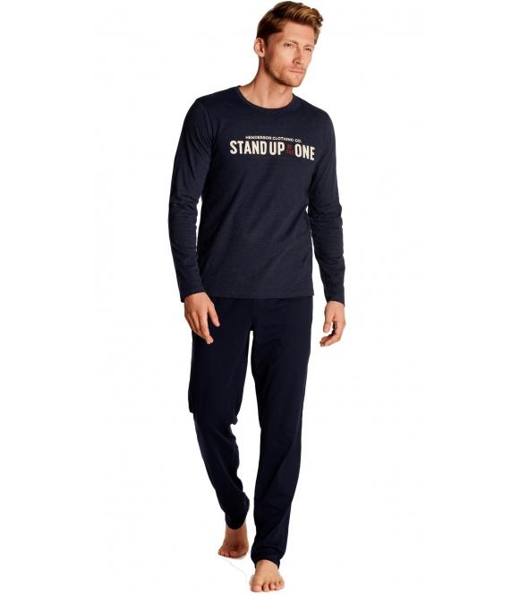 granatowa piżama męska outdor firmy henderson granatowa dwuczęściowa z długim rękawem i długimi spodniami