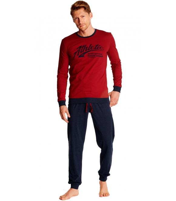 bawełniana piżama męska długa w bordowo granatowym kolorze bluza z długim rękawem zakończonym lamówkami spodnie długie