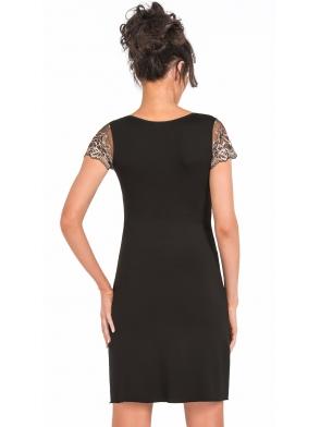 seksowna czarna koszulka nocna damska z wiskozy i koronki o złotym kolorze ramiona i dekolt koronkowy donna