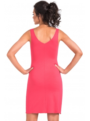 donna bielizna nocna koszulka z koronkowymi miseczkami i szerokimi ramiączkami kolor koralowy długość przed kolano