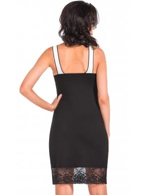 bardzo kobieca bielizna koszulka nocna damska czarna z koronkowy dekolt i ramiączka długość przed kolana z pasem koronki donna