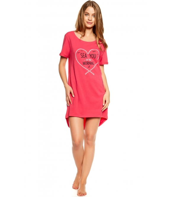 różowa bawełniana koszulka nocna damska henderson ladies tayla krótki rękaw nadruk na piersiach