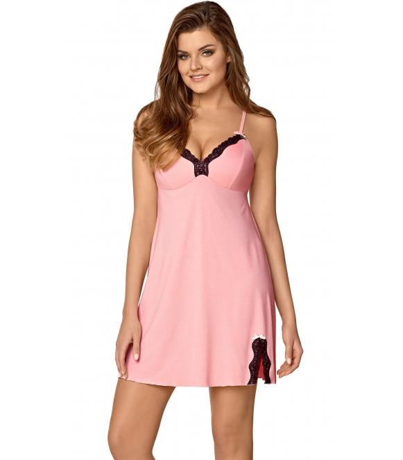 zmysłowa różowa koszulka nocna damska z czarną koronkową lamówką na dekolcie profilowane miseczki seksowne rozcięcie na udzie