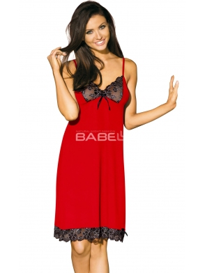 koszulka nocna w gorącej czerwonej barwie seksowna i  kobieca czarna koronka na miseczkach biustonosza regulowane ramiączka