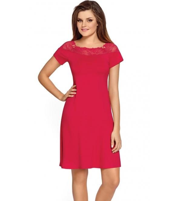 jasno rubinowa koszulka nocna damska z wiskozy krótki rękaw koronkowy dekolt długość przed kolana babella