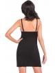 czarna seksowna koszulka nocna czarna z koronką ecru na miseczkach biustonosza i ramiączkach odkryte plecy donna