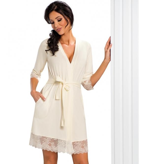 kremowy szlafrok damski z koronkowymi wstawkami wiązany w talii rękawy 3/4 z koronkową lamówką przed kolana donna