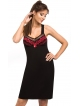 czarna koszulka nocna z czerwoną koronką damska na ramiączkach donna jasmine