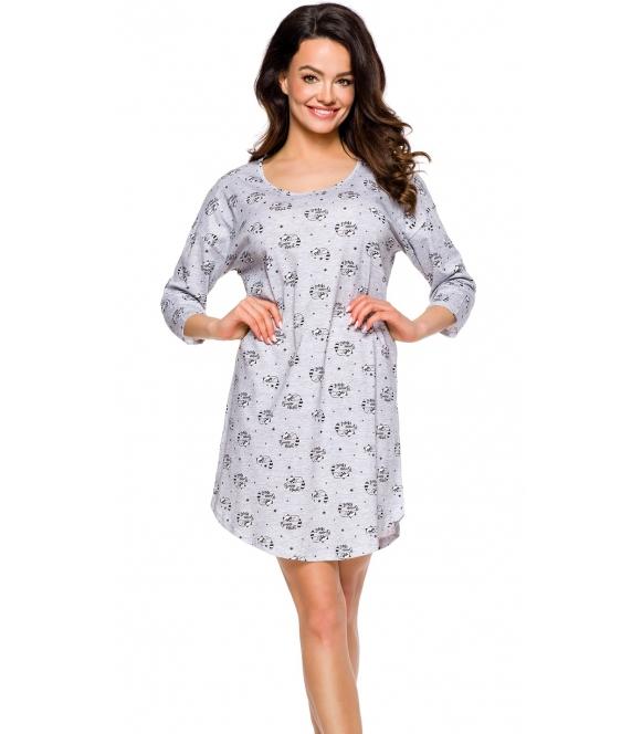 taro koszula nocna bawełniana szary melange z delikatnym nadrukiem półokrągły dekolt rękawki 3/4 długość przed kolana