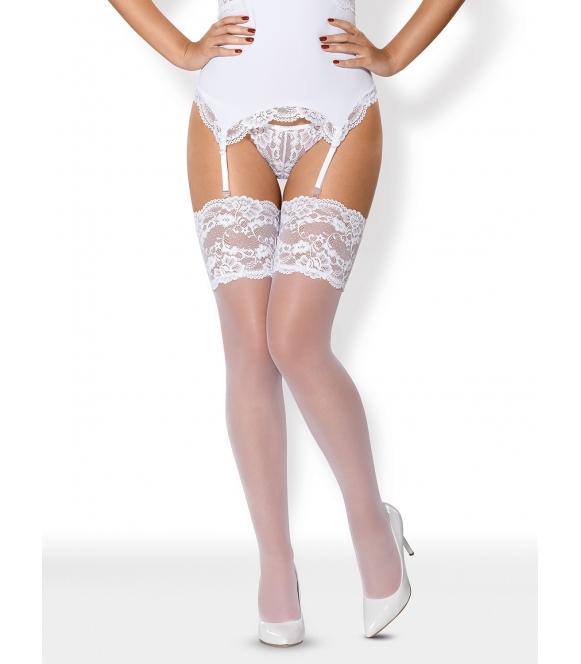 pończochy damskie białe ślubne szerokie ładne zdobienie z koronki obsessive 810 sto