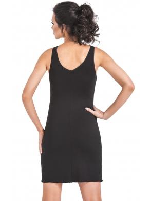 seksowna bielizna nocna koszulka z czarnej wiskozy koronkowe miseczki i ramiączka wstawki koronki pod linią biustu donna irina
