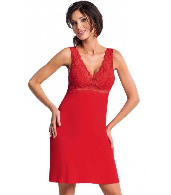 gorąca czerwona koronkowa koszulka nocna z koronkowymi usztywnianymi miseczkami ramiączkami o odkrytymi plecami odcięcie donna