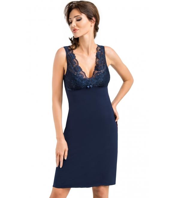 donna simone ekskluzywna koszulka nocna damska granatowa z wiskozy koronkowy dekolt i ramiączka na plecach koronka w kształcie v