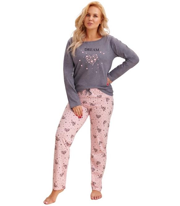 szaro różowa melanż piżama damska plus size bawełniana bluza szara z różowym serduszkiem długi rękaw spodnie długie