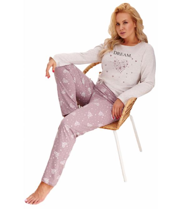 plus size piżama damska z bawełny w większych rozmiarach bluza szara długi rękaw spodnie długie z motywem serduszek taro