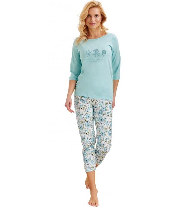 piżama damska miętowo biała w kwiatowe wzory bawełniana bluza miętowa rękaw 3/4 nadruk na piersi spodnie 3/4 wzorzyste