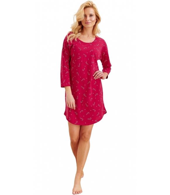 koszula nocna bawełniana z świątecznym motywem czerwona rękaw 3/4 dół do połowy uda półokrągły taro jurata