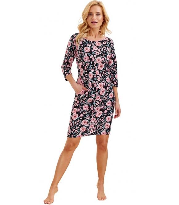 koszula nocna z wyrazistym czarno różowym wzorem bawełniana rękaw 3/4 kobiecy fason długość do połowy uda taro