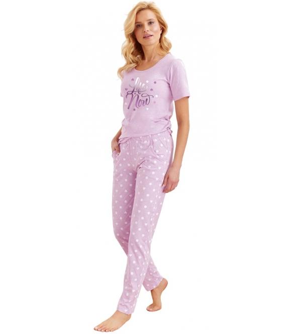 fioletowa w serduszka piżama damska bawełniana z krótkim rękawem nadrukiem na koszulce spodnie długie ze ściągaczem w pasie