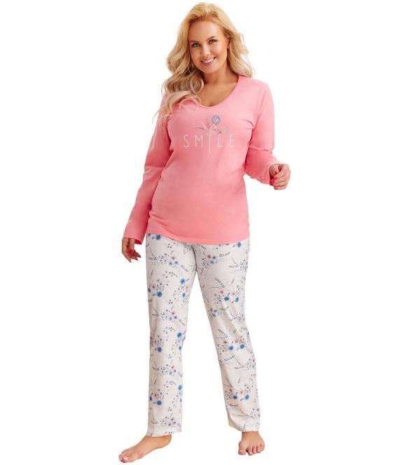 łososiowo szara piżama damska bawełniana w rozmiarach plus size bluza długi rękaw nadruk długie jasne spodnie z motywem kwiatów