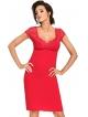 koszulka nocna koronkowa góra czerwona z krótkim rękawem koronkowe miseczki biustonosza i ramiona donna brigitte