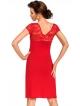 donna koszulka nocna z koronkowym biustonoszem krótkimi rękawami i dekoltem wiskozowa czerwona model brigitte