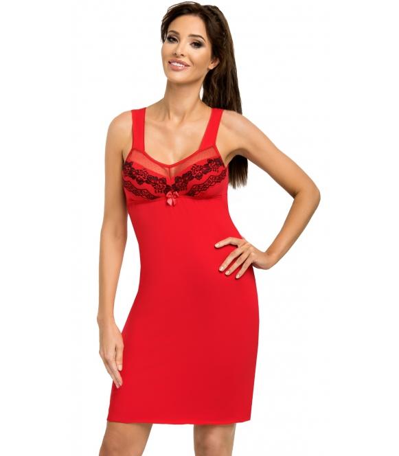 czerwona koszulka nocna z czarnym kwiecistym haftem na miseczkach biustonosza i plecach bielizna na szerokich ramiączkach donna