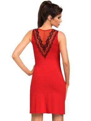 czerwona bielizna damska koszulka nocna damska z czarnym kwiatowym haftem na miseczkach i plecach z wiskozy donna jasmine
