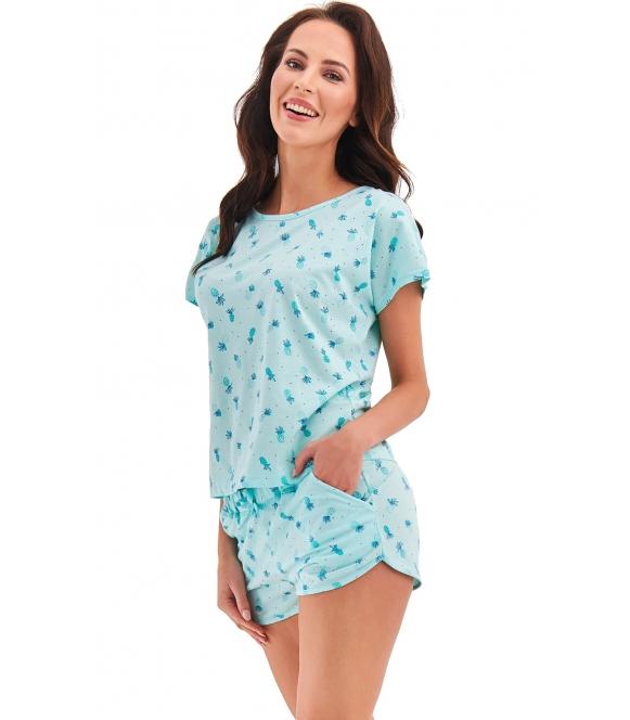 miętowa krótka piżama damska bawełniana dwuczęściowa krótki rękaw spodenki krótkie z kieszeniami taro rozi
