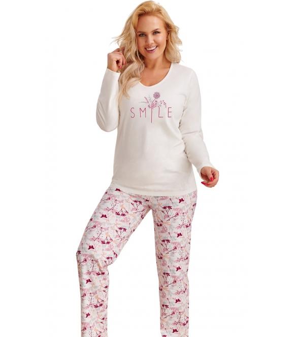piżama plus size bawełniana szara dwuczęściowa góra długi rękaw i motyw na piersiach spodnie wzorzyste z bordowym motywem taro