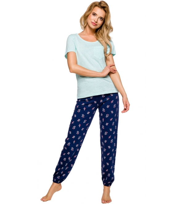 miętowo granatowa piżama damska bawełniana z krótkim rękawem i długimi spodniami taro eli