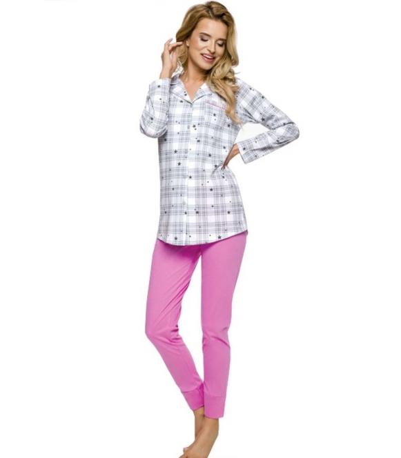 taro dalia piżama w kratę damska dwuczęściowa bluza szara krata  z długim rękawem zapinana na guziki spodnie różowe długie