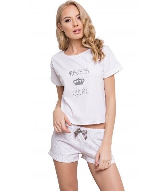 aruelle princess piżama damska dwuczęściowa bawełniana jasnym kolorze koszulka krótkim rękaw spodenki krótkie w kropeczki