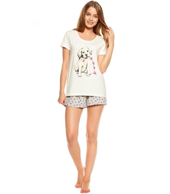 piżama damska z pieskiem na koszulce i motywem serduszek na krótkich spodenkach koszulka krótki rękaw henderson ladies tami