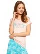 dwuczęściowa krótka piżama damska różowo miętowa spodenki miętowe krótkie z roślinnym nadrukiem koszulka różowa krótki rękaw