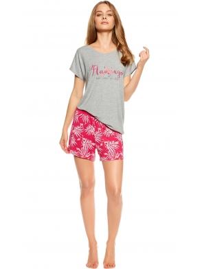 wiskozowa piżama damska dwuczęściowa krótka szara luźna koszulka z krótkim rękawem i napisem flamingo spodenki krótkie różowe