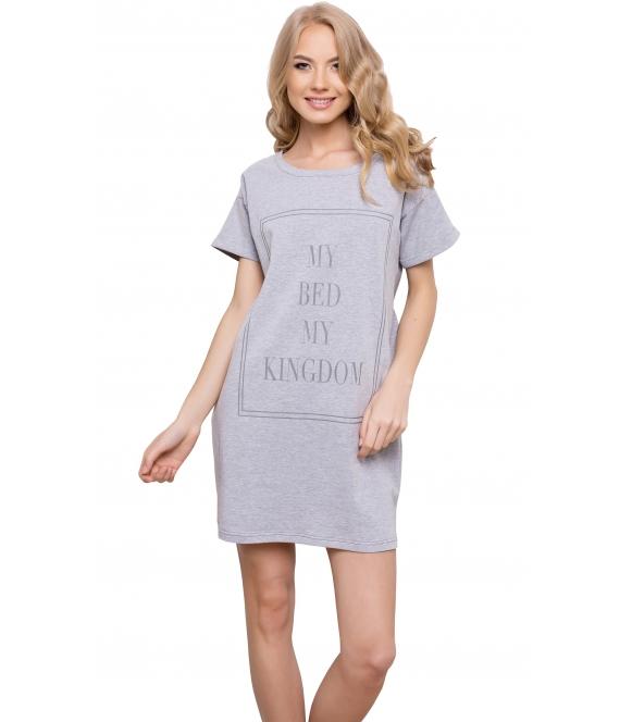 koszulka nocna aruelle kingdom grey bawełniana krótka w kolorze szarym krótki rękaw nadruk z przodu długość przed kolano