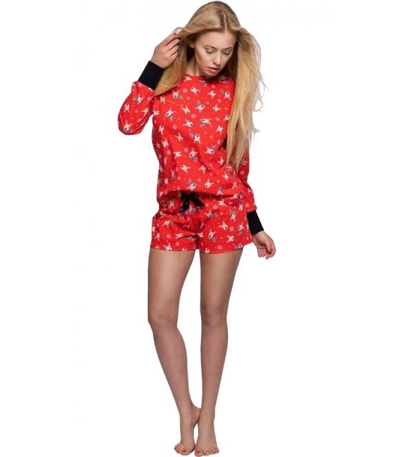 świąteczna piżama z nadrukiem reniferów bawełniana damska w kolorze czerwony, rękawy długie z czarnym mankietem spodenki krótkie