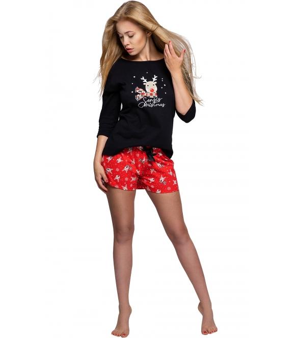 sensis piżama damska w świątecznym nastroju bawełniana bluza czarna z motywem renifera spodenki krótkie czerwone z reniferami