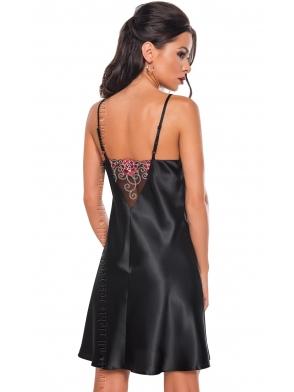 haftowana satynowa koszulka nocna damska czarna na cienkich ramiączkach haft między miseczkami i na plecach cienkie ramiączka