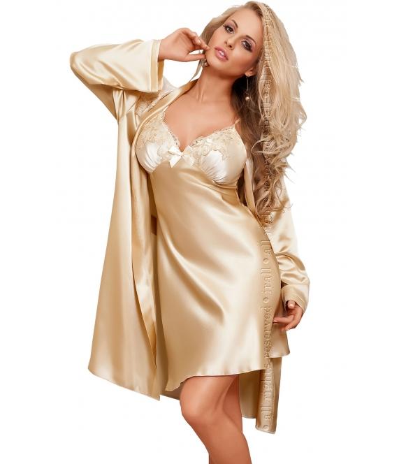 satynowa koszulka nocna z koronką szampański kolor włoska satyna koronkowe miseczki biustonosza bardzo sexy irall parisa